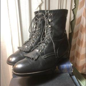 Shoes - Vintage Black Leather Fringe Boots